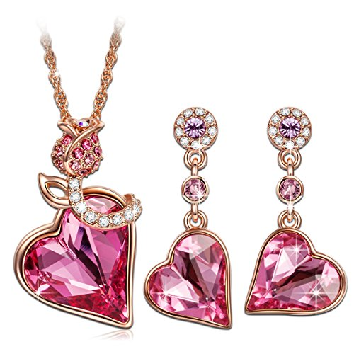 QIANSE Rose Lover Rose Gold Necklace Earrings Jewelry Sets Swarovski Crystals Jewelry Set For ...