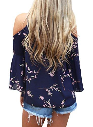 0980be8991e HOTAPEI Women's Floral Print Cut Out Shoulder 3 4 Sleeve Chiffon T Shirt  Tops Blouse