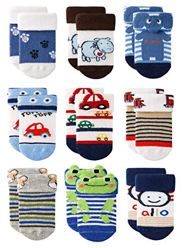 Growth Pal 9 Pack Non Skid Anti Slip Baby Socks with Grips Cotton Socks for Walking Toddlers Boys & Girls 0-36 Months